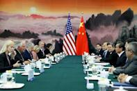 US Secretary of State Rex Tillerson (2nd L) attends a meeting with Chinese Foreign Minister Wang Yi (3rd R) at the Great Hall of the People in Beijing in September