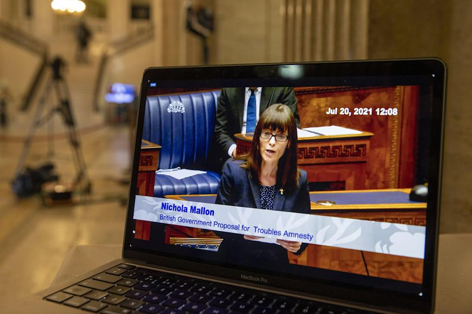 SDLP deputy leader Nicola Mallon speaking in the Northern Ireland Assembly. A proposed ban on Troubles prosecutions would not be acceptable in any other modern democracy in the world, the Stormont Assembly has been told. MLAs returned from summer recess on Tuesday for an emergency sitting to debate the Government�s controversial plan to introduce a statute of limitations on crimes committed during the Northern Ireland conflict. Picture date: Tuesday July 20 2021. (PA Wire)