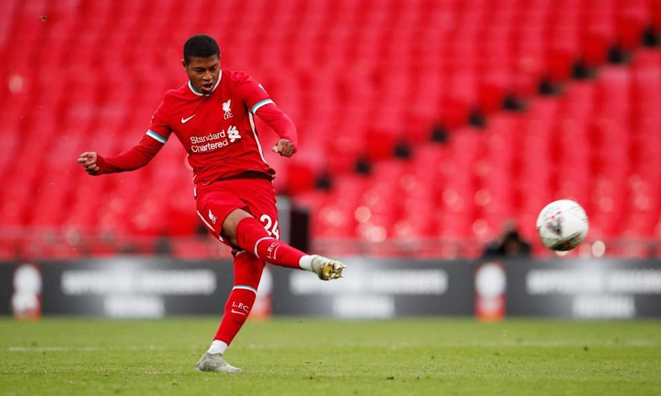 Rhian Brewster misses from the spot in Liverpool's shootout defeat against Arsenal in the Community Shield