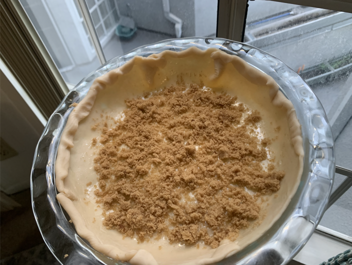 The recipe calls for 1/4 cup of brown sugar to line the bottom of the pie. (Samantha Kubota / TODAY)