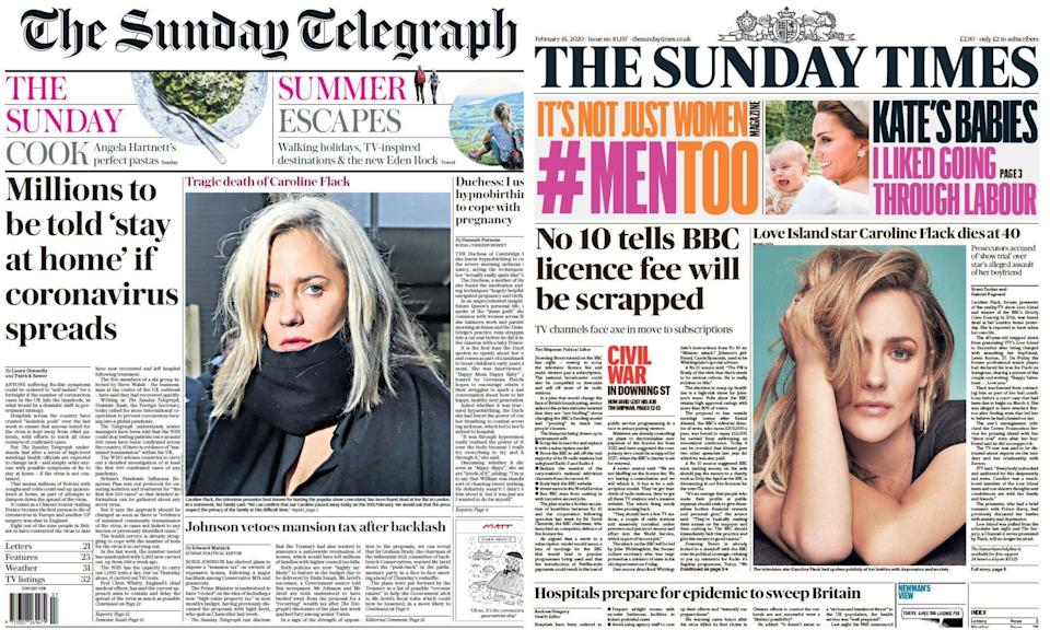 The Sunday Telegraph and Sunday Times front pages also carried tributes