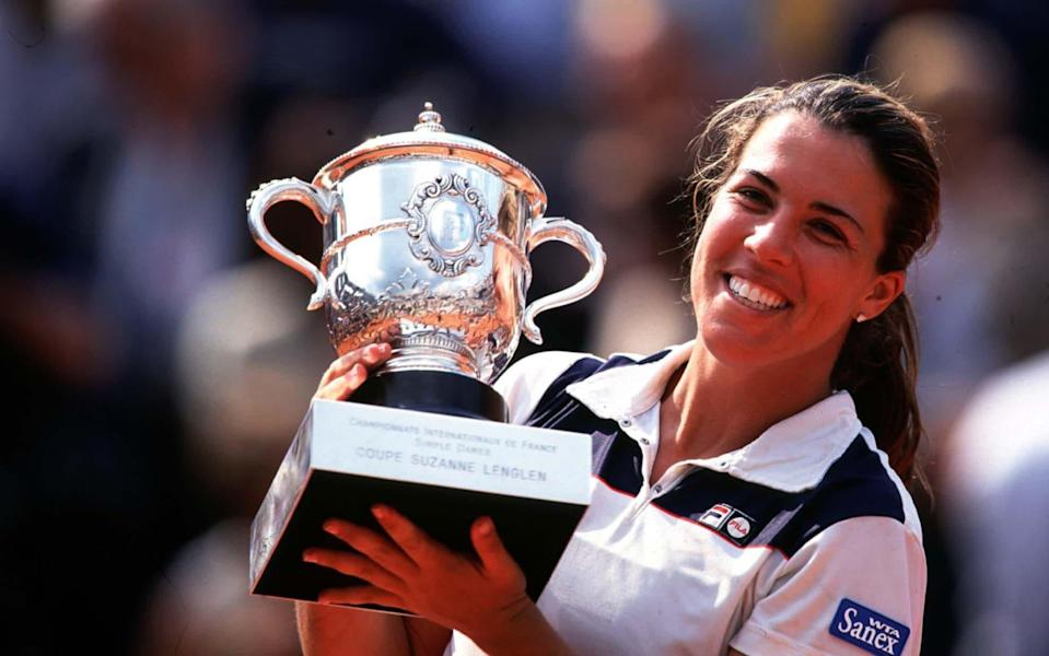 Jennifer Capriati after winning the 2001 French Open - GETTY IMAGES