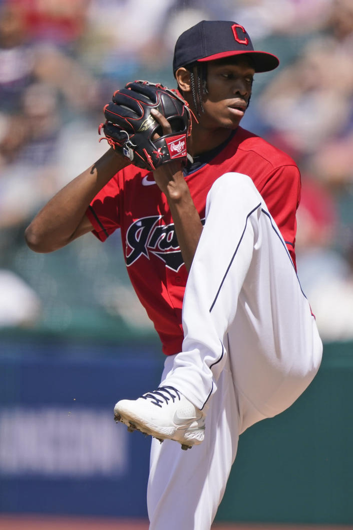 Cleveland Indians starting pitcher Triston McKenzie delivers in the first inning of the first baseball game of a doubleheader against the Chicago White Sox, Monday, May 31, 2021, in Cleveland. (AP Photo/Tony Dejak)