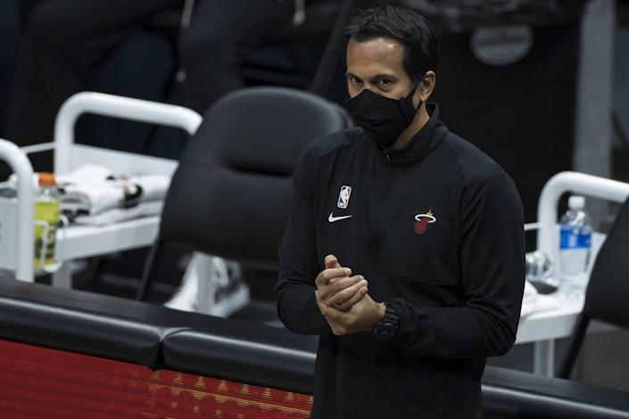 Heat coach Erik Spoelstra looks on during the second half of a game against the Washington Wizards at Capital One Arena on Jan. 9, 2021 in Washington, DC.