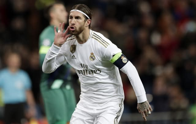 Real Madrid skipper Sergio Ramos celebrates after scoring from the penalty spot (Bernat Armangue/AP/PA)
