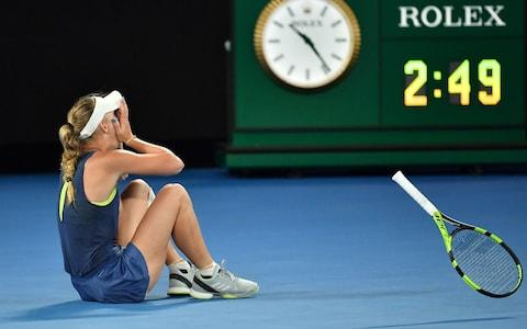 <span>Wozniacki celebrates breaking her grand-slam duck at last year's Australian Open </span> <span>Credit: AFP </span>