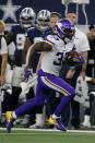 Minnesota Vikings running back Dalvin Cook (33) carries the ball during the second half of the team's NFL football game against the Dallas Cowboys in Arlington, Texas, Sunday, Nov. 10, 2019. (AP Photo/Michael Ainsworth)
