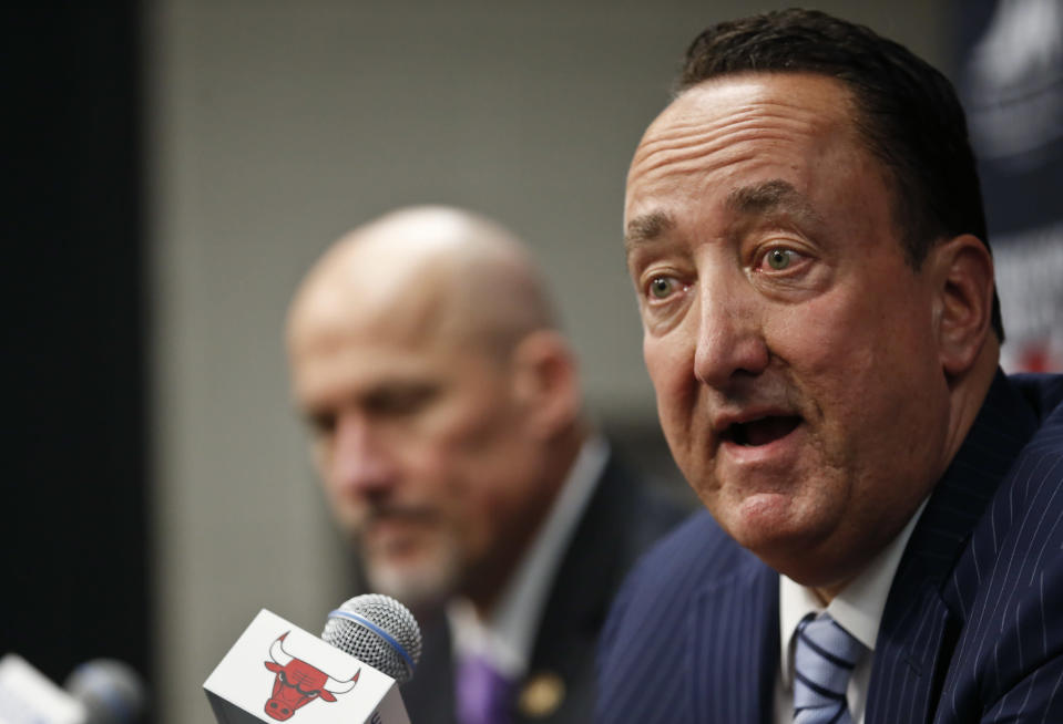 Bulls general manager Gar Forman faces some questions, as usual. (AP)
