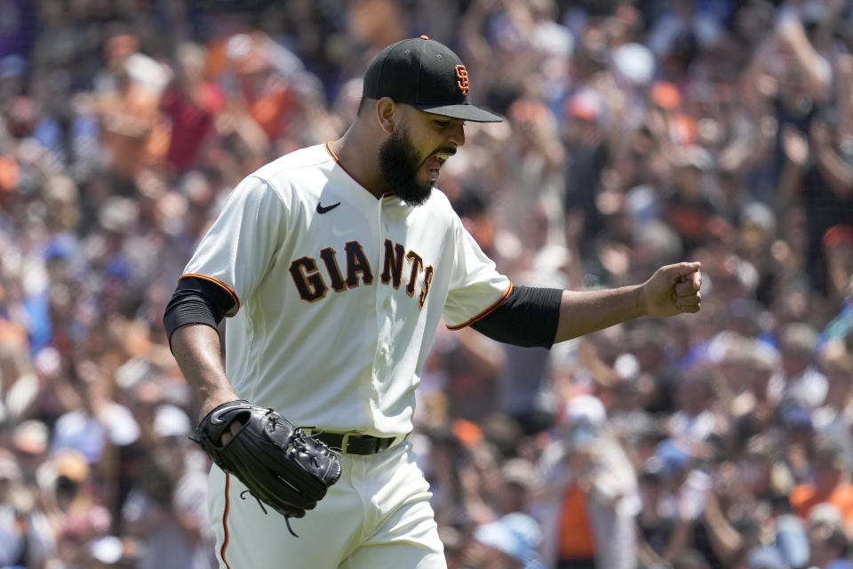San Francisco Giants relief pitcher Jarlin Garcia celebrates after striking out Los Angeles Dodgers' Cody Bellinger during the sixth inning of a baseball game Thursday, July 29, 2021, in San Francisco. (AP Photo/Tony Avelar)