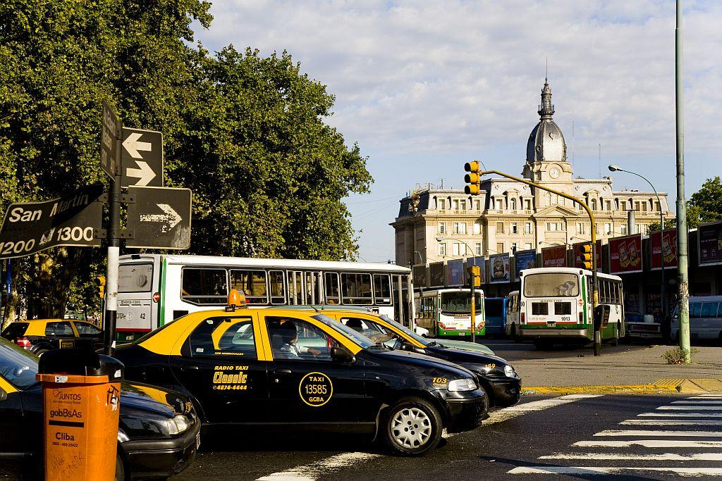 Taxis in the vicinity of the English Tower in Buenos Aires.
