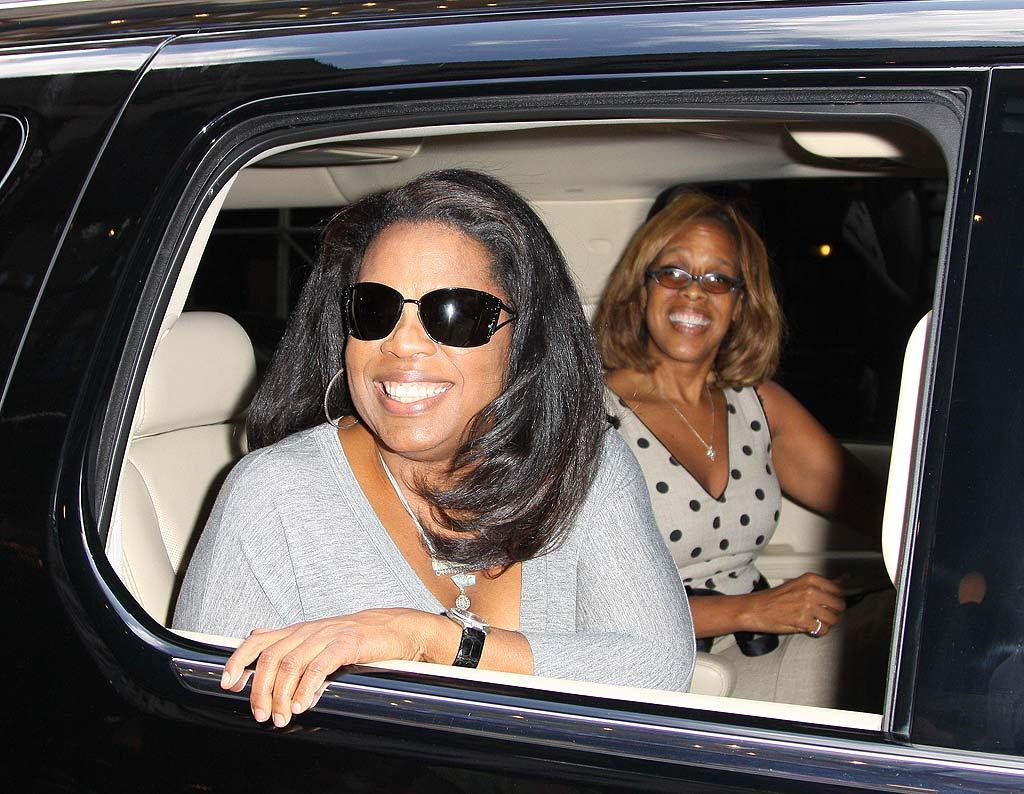 """Oprah Winfrey and her BFF, Gayle King, are all smiles after chowing down together at Phillipe Chow in NYC. The talk show queen was in town to conduct a special interview with Jay-Z at the Marcy Projects in Brooklyn where the rapper grew up. <a href=""""http://www.infdaily.com"""" target=""""new"""">INFDaily.com</a> - August 10, 2009"""