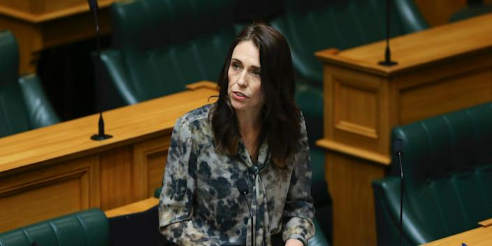 Prime Minister Jacinda Ardern makes a ministerial statement during the first sitting of the House since lockdown at Parliament on April 28.