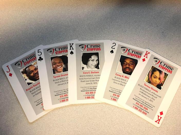 These and other Cold Case Playing Cards have been placed in Ohio prisons, jails and other lockup facilities as a crime-fighting tool.