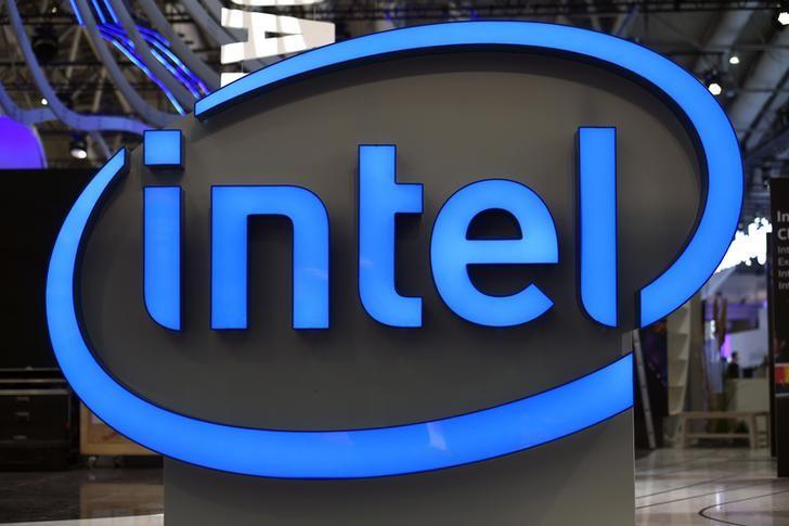 Intel's logo is pictured during preparations at the CeBit computer fair in Hanover