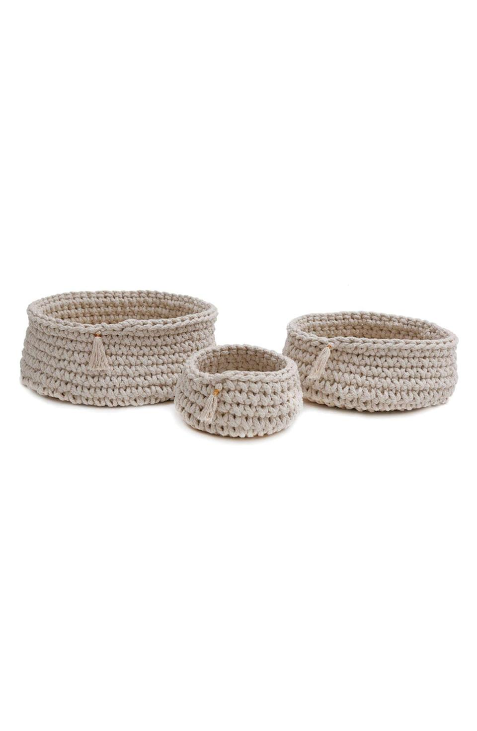 """<p><strong>POM POM AT HOME</strong></p><p>nordstrom.com</p><p><a href=""""https://go.redirectingat.com?id=74968X1596630&url=https%3A%2F%2Fwww.nordstrom.com%2Fs%2Fpom-pom-at-home-baya-set-of-3-baskets%2F4720134&sref=https%3A%2F%2Fwww.goodhousekeeping.com%2Flife%2Fmoney%2Fg36944754%2Fnordstrom-anniversary-sale-2021%2F"""" rel=""""nofollow noopener"""" target=""""_blank"""" data-ylk=""""slk:Shop Now"""" class=""""link rapid-noclick-resp"""">Shop Now</a></p><p><del>$161.00</del> $107.90 <strong>(33% off)</strong></p><p>Store all your favorite knick-knacks in these tassel-embellished, handwoven baskets from Los Angeles-based company Pom Pom at Home. </p>"""
