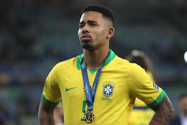 Gabriel Jesus looks on after winning the Copa America 2019 final. (Photo by Alexandre Schneider/Getty Images)