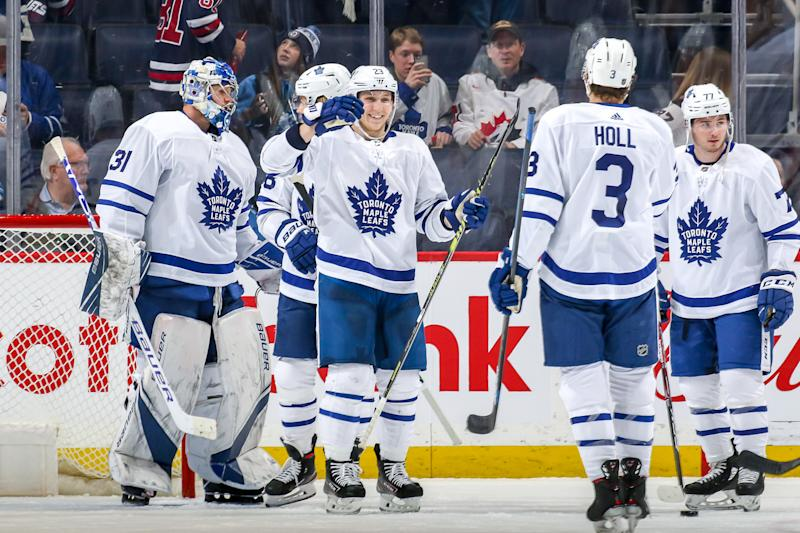 WINNIPEG, MB - JANUARY 2: Toronto Maple Leafs players celebrate following a 6-3 victory over the Winnipeg Jets at the Bell MTS Place on January 2, 2020 in Winnipeg, Manitoba, Canada. (Photo by Jonathan Kozub/NHLI via Getty Images)