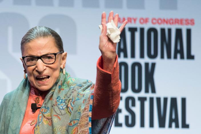 Supreme Court Associate Justice Ruth Bader Ginsburg waves to the audience after speaking at the Library of Congress National Book Festival in Washington, D.C., in late August.