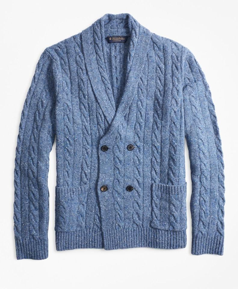 "<span>$298; buy now at <a rel=""nofollow"" href=""https://www.brooksbrothers.com/Double-Breasted-Cable-Cardigan/MS00918,default,pd.html?ICID=Bestlife_MS00918"">brooksbrothers.com</a></span>  For a snappy and comfortable alternative to a blazer, consider the cardigan. Yes, yes, we know: cardigans scream ""stuffy""—usually. This beauty here, though, is an exception to the rule. A double-breasted cut lends a level of gravitas that no traditional sweater can match, while a sharp shawl collar accentuates the shoulders in the same way a well-tailored suit does. And it does that all without sacrificing the coziness you'd expect from a cable-knit."