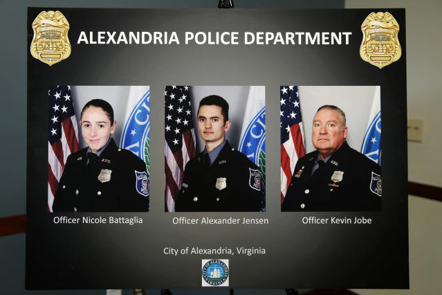 <p>A poster shows images of Alexandria, Va. Police Officers, from left, Nicole Battaglia, Alexander Jensen, and Kevin Jobe, during a news conference at the Police Headquarters in Alexandria, Va., Monday, June 19, 2017, about the June 14 shooting at a baseball field in Alexandria. The three officers were praised by Alexandria Police Chief Michael Brown for their actions during the incident. (Photo: Jacquelyn Martin/AP) </p>