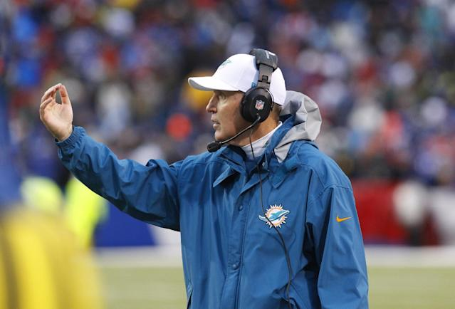 Miami Dolphins coach Joe Philbin works the sidelines during the second half of an NFL football game against the Buffalo Bills on Sunday, Dec. 22, 2013, in Orchard Park, N.Y. Buffalo won 19-0. (AP Photo/Bill Wippert)