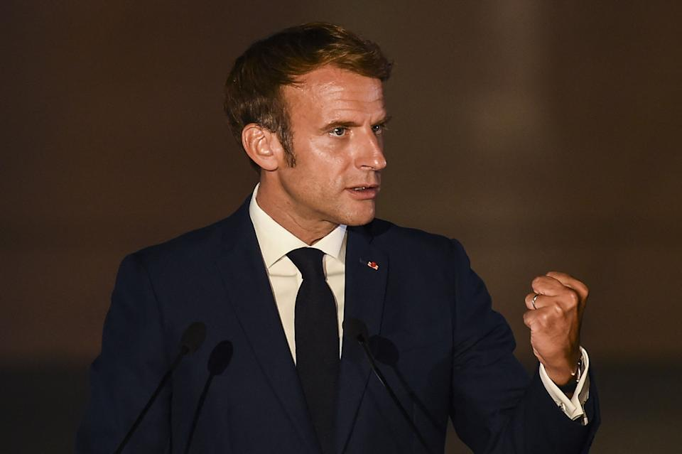 French President Emmanuel Macron delivers a statement during the 8th MED7 Mediterranean countries summit in Athens, on September 17, 2021. (Photo by ANGELOS TZORTZINIS / AFP) (Photo by ANGELOS TZORTZINIS/AFP via Getty Images)