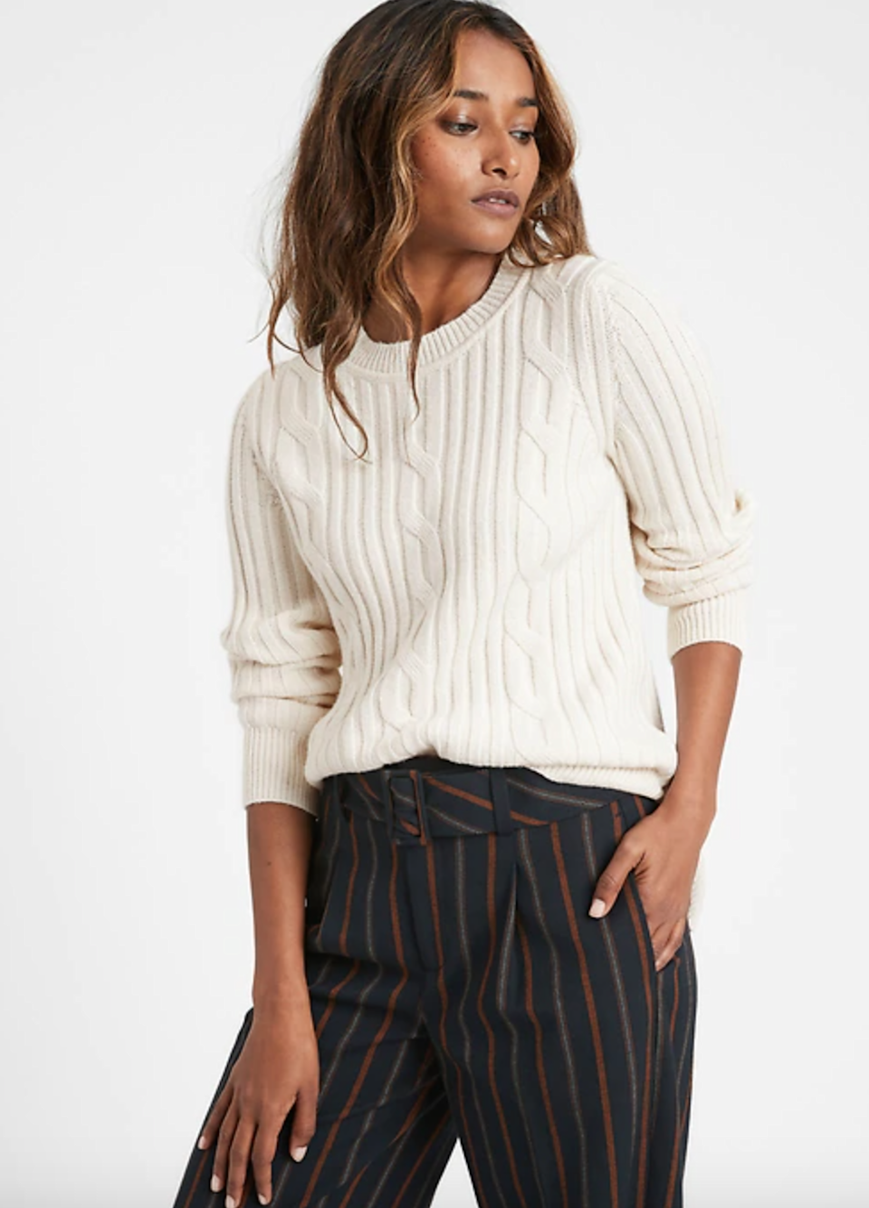 """<br><br><strong>Banana Republic</strong> Chunky Cable-Knit Sweater, $, available at <a href=""""https://go.skimresources.com/?id=30283X879131&url=https%3A%2F%2Fbananarepublic.gap.com%2Fbrowse%2Fproduct.do%3Fpid%3D656664062%26cid%3D1170054%26pcid%3D1169671"""" rel=""""nofollow noopener"""" target=""""_blank"""" data-ylk=""""slk:Banana Republic"""" class=""""link rapid-noclick-resp"""">Banana Republic</a>"""
