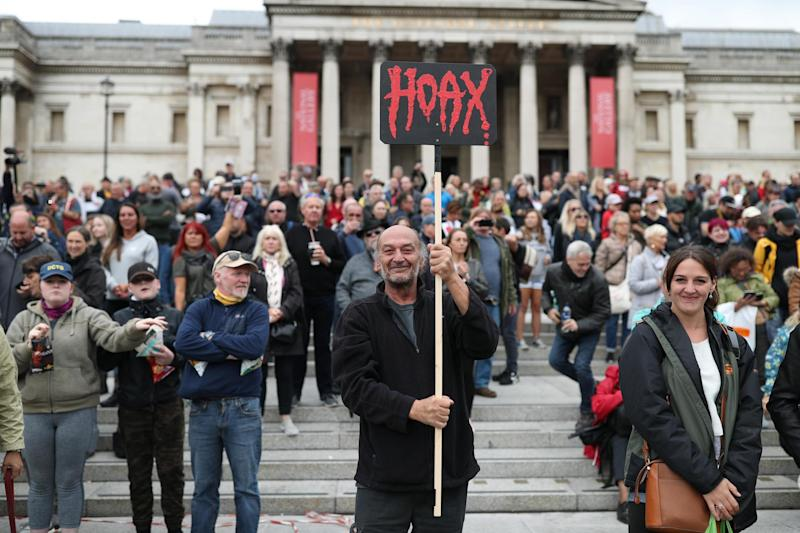 Anti-lockdown protesters, who believe that the coronavirus pandemic is a hoax, gather at the 'Unite For Freedom' rally in Trafalgar Square: PA