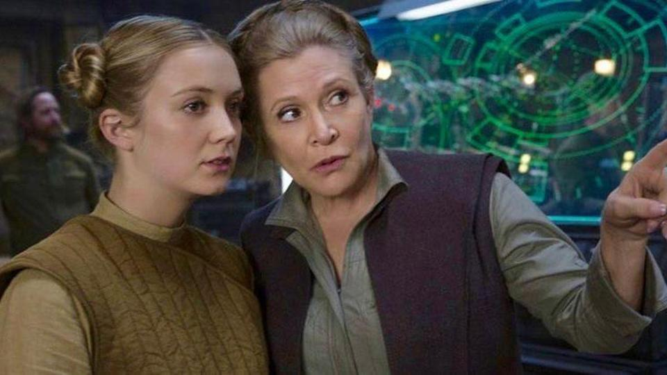 Billie Lourd and her mother Carrie Fisher on the set of The Force Awakens.