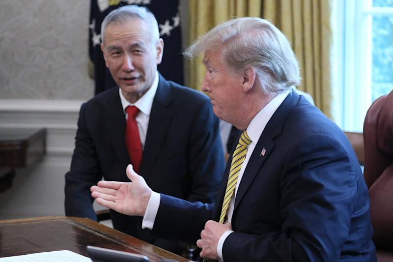 U.S. President Donald Trump speaks while meeting with China's Vice Premier Liu He in the Oval Office of the White House in Washington, U.S., April 4, 2019. REUTERS/Jonathan Ernst