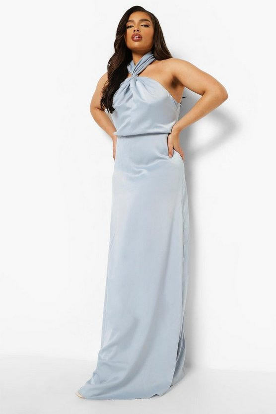 """<h3>Boohoo </h3><br><strong>Price Range: </strong>$12 - $240<br><strong>Size Range: </strong>0 - 24, with some styles available in petite, plus, and tall<br><br>Little-known fact: this go-to destination for affordable night-out looks is also a well of wallet-friendly bridesmaids' dresses. With no-frills, classically styled silhouettes available in a wide range of colors, this is the perfect resource for a streamlined — and maybe slightly sexy — wedding party.<br><br><em>Shop <strong><a href=""""https://us.boohoo.com/womens/dresses/bridesmaids"""" rel=""""nofollow noopener"""" target=""""_blank"""" data-ylk=""""slk:Boohoo"""" class=""""link rapid-noclick-resp"""">Boohoo</a></strong></em><br><br><strong>Boohoo Plus</strong> Occasion Halter Neck Maxi Dress, $, available at <a href=""""https://go.skimresources.com/?id=30283X879131&url=https%3A%2F%2Fus.boohoo.com%2Fplus-occasion-halter-neck-maxi-dress%2FPZZ01411.html%3Fcolor%3D396"""" rel=""""nofollow noopener"""" target=""""_blank"""" data-ylk=""""slk:Boohoo"""" class=""""link rapid-noclick-resp"""">Boohoo</a>"""