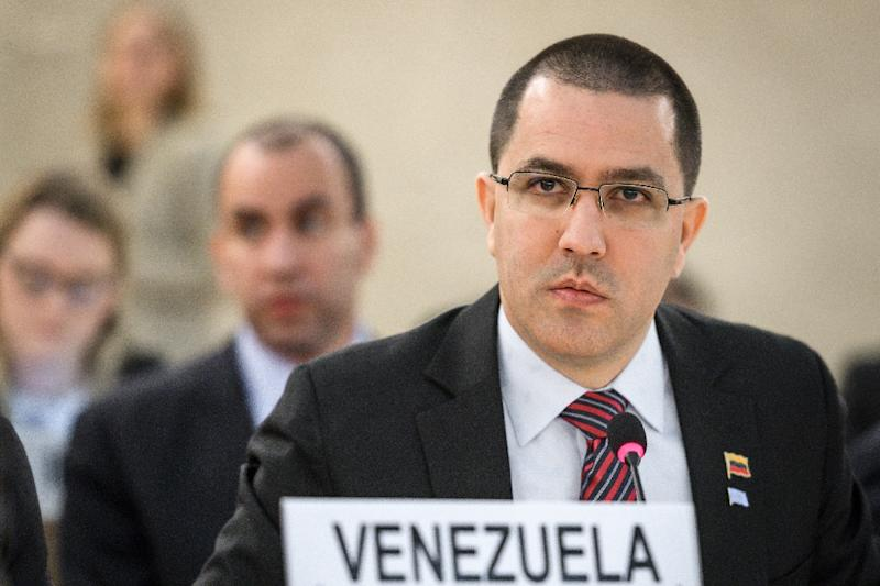 "Arreaza said work needed to be done to ""rebuild trust"" between his country and the UN rights office (AFP Photo/Fabrice COFFRINI)"