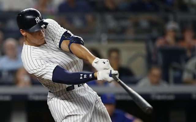 <p>New York Yankees' Aaron Judge hits a home run against the New York Mets during the sixth inning of a baseball game Monday, Aug. 14, 2017, at Yankee Stadium in New York. (AP Photo/Rich Schultz) </p>