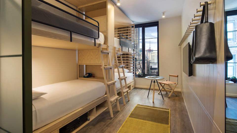 Moxy Chelsea's bunk rooms make the most of their small space.