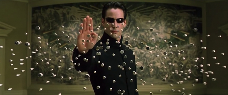Neo stopping bullets in the Matrix Reloaded