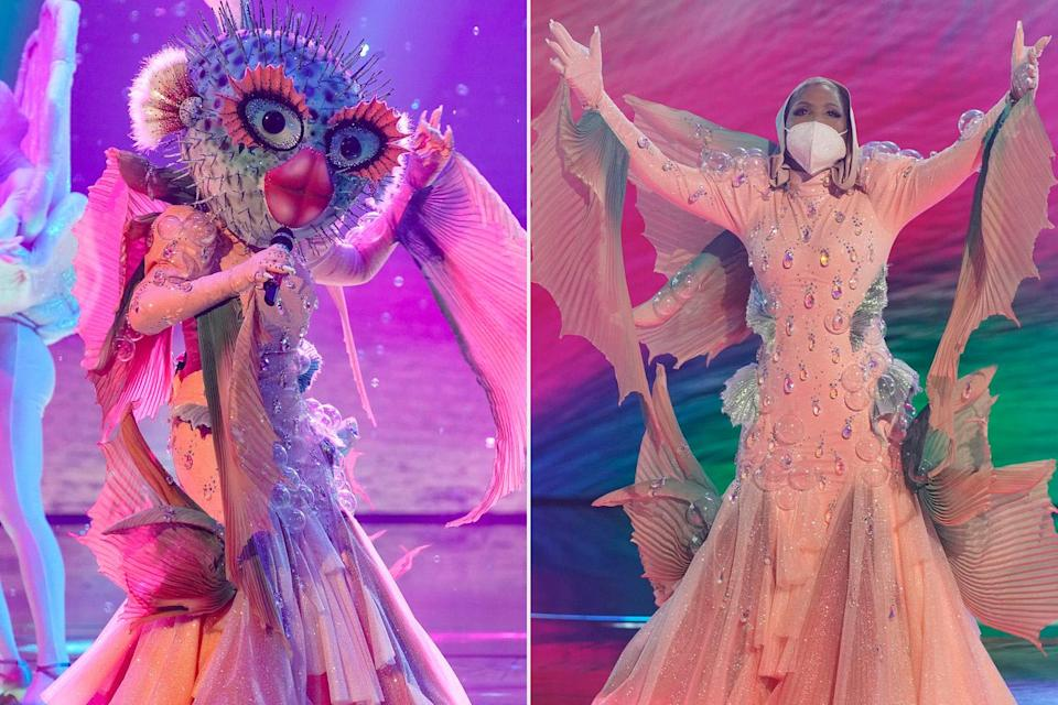 """<p>In the <a href=""""https://ew.com/tv/the-masked-singer-reveals-mother-nature-pufferfish/"""" rel=""""nofollow noopener"""" target=""""_blank"""" data-ylk=""""slk:second episode,"""" class=""""link rapid-noclick-resp"""">second episode,</a> the show also decided to puff puff pass on letting the pouty mouthed songstress advance. The colorful diva pulled off her gills to reveal legendary singer <a href=""""https://ew.com/tag/toni-braxton/"""" rel=""""nofollow noopener"""" target=""""_blank"""" data-ylk=""""slk:Toni Braxton,"""" class=""""link rapid-noclick-resp"""">Toni Braxton,</a> whose voice had been muffled by wearing a face mask underneath her mask face the entire time.</p>"""