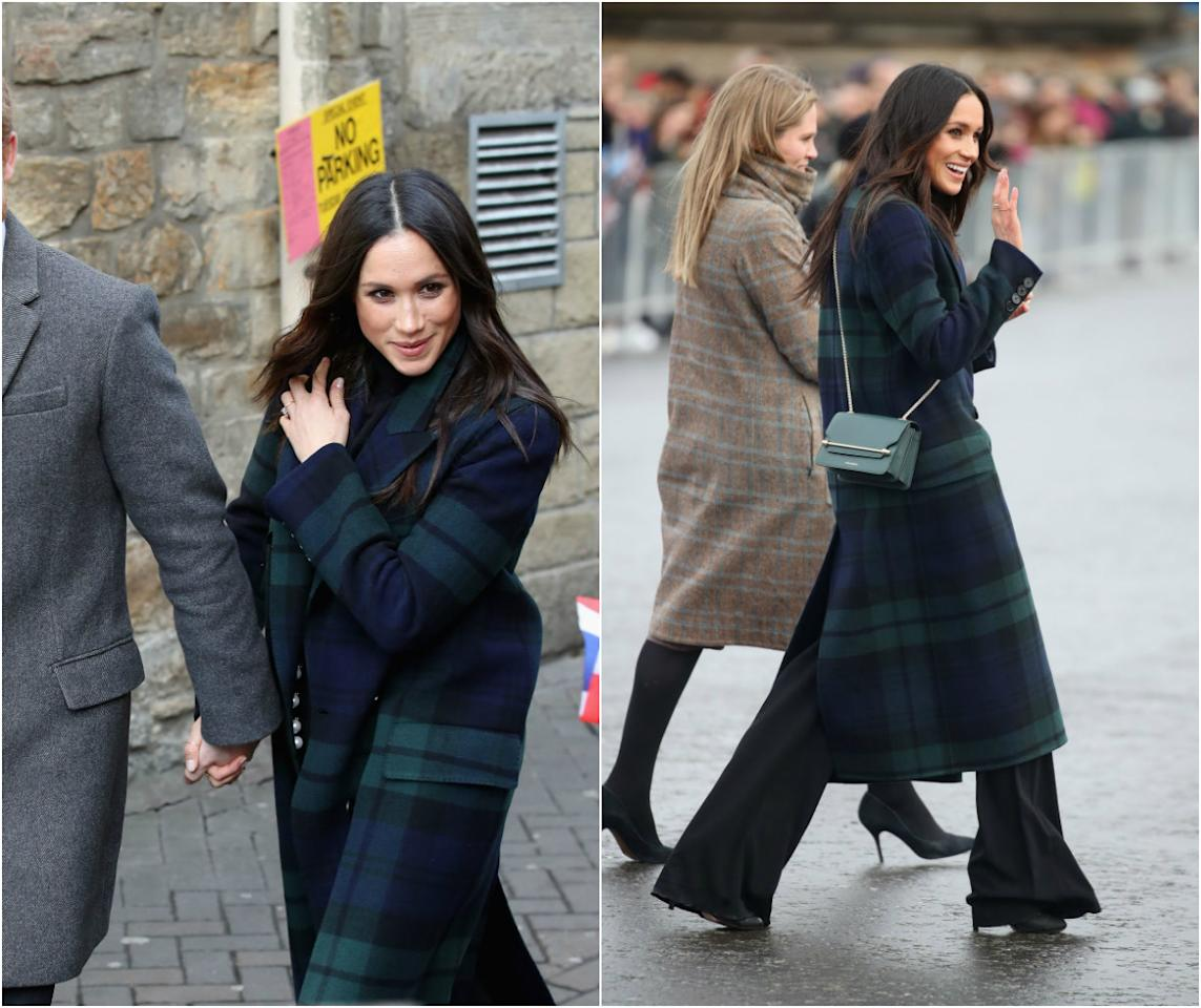 <p><strong>When: Feb. 13, 2018</strong><br />Meghan Markle gave a nod to Scotland as she arrived at Edinburgh Castle with Prince Harry on Tuesday for their first joint tour of the country. Markle, 36, dazzled the crowds in a $3,500 CAD green and blue tartan Burberry coat paired with a black turtleneck and pants by Veronica Beard. </p>