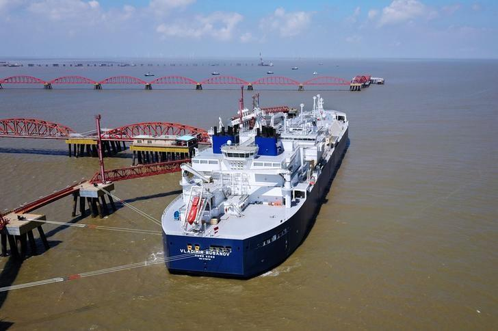 Vessel carrying liquefied natural gas cargo from Russia's Yamal LNG project, is seen at Rudong LNG Terminal in Nantong, Jiangsu