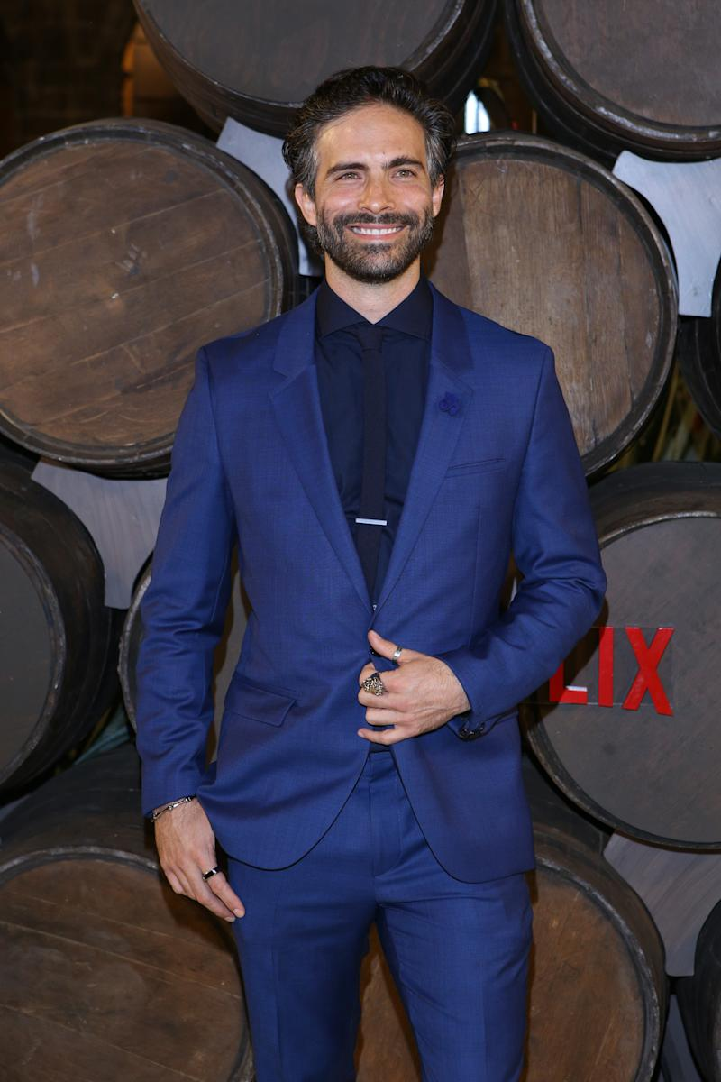 MEXICO CITY, MEXICO - SEPTEMBER 10: Osvaldo Benavides poses for photos during the red carpet of the new Netflix's series 'Monarca at Colegio de San Ildefonso on September 10, 2019 in Mexico City, Mexico. (Photo by Medios y Media/Getty Images)