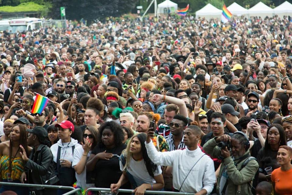 People gathering at the UK Black Pride in Haggerston Park in London, 2019. (Quintina Valero/Getty Images)