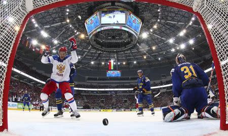 Sweden's Nilsson reacts after failing to save a goal by Russia during their men's ice hockey World Championship semi-final game in Minsk