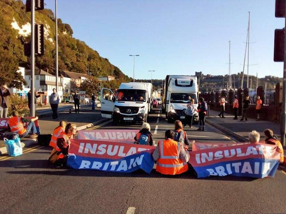 Insulate Britain protesters block the A20 which provides access to the Port of Dover in Kent (Insulate Britain)