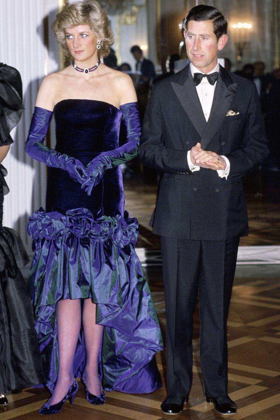 <p>In a black-and-blue dress at the Munich Opera House in Germany. </p>
