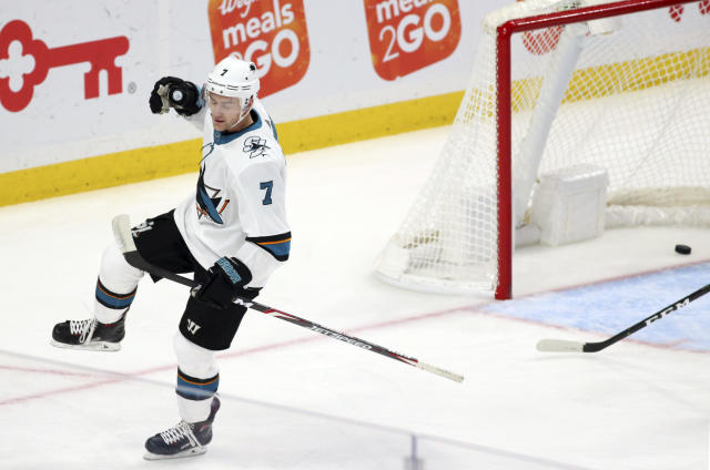 San Jose Sharks forward Dylan Gambrell celebrates his goal during the first period of the team's NHL hockey game against the Buffalo Sabres, Tuesday, Oct. 22, 2019, in Buffalo, N.Y. (AP Photo/Jeffrey T. Barnes)