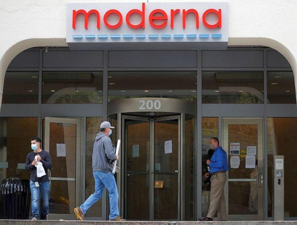 PHOTO: A sign marks the headquarters of Moderna Therapeutics, which is developing a vaccine against COVID-19, in Cambridge, Mass., on May 18, 2020. (Brian Snyder/Reuters, File)