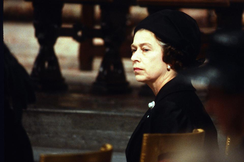<p>Queen Elizabeth at Lord Mountbatten's funeral in September 1979</p>