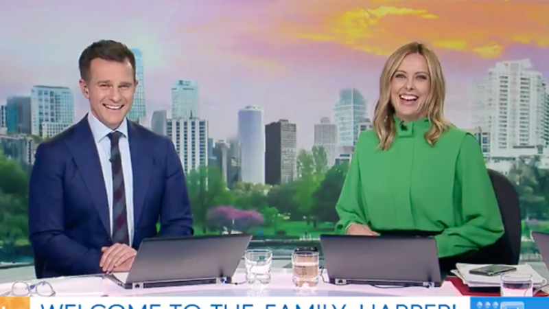 David Campbell and Ally Langford couldn't resist a couple of cheeky jokes at Karl's expense. Photo: Nine