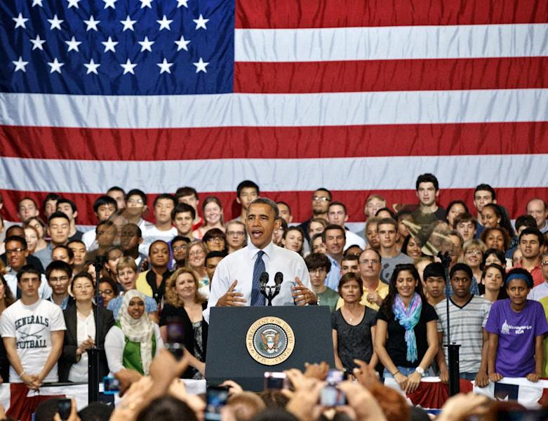 President Barack Obama speaks to students and parents at Washington-Lee High School in Arlington, Va., Friday, May 4, 2012, about his efforts to prevent interest rates from doubling on federal student loans. (AP Photo/J. Scott Applewhite)