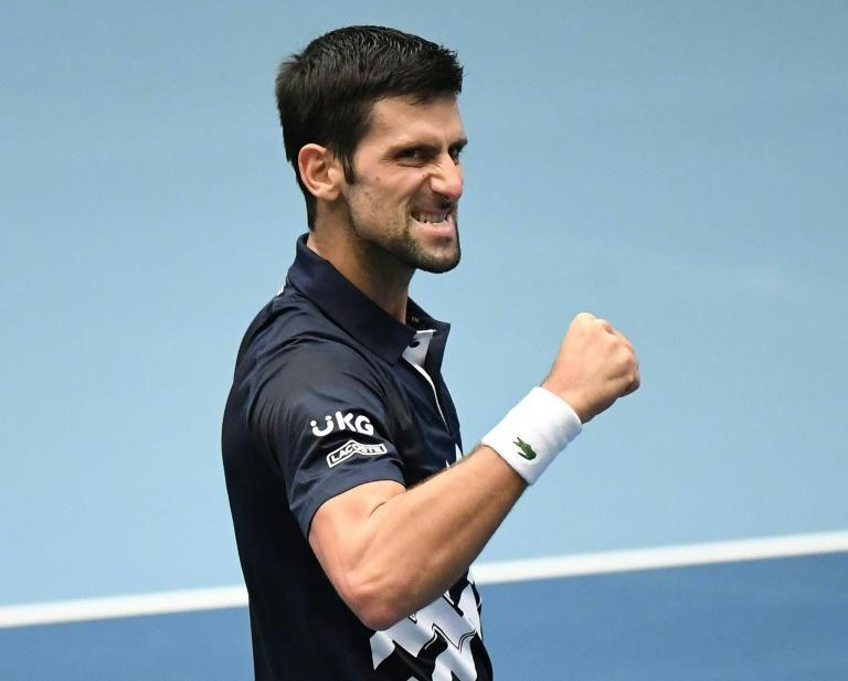 On top of the world: Novak Djokovic reacts after his win against Borna Coric