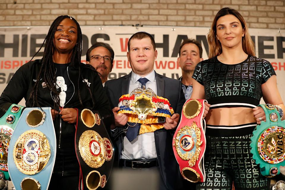 NEW YORK, NEW YORK - FEBRUARY 26:  Claressa Shields and Christina Hammer present their belts during the press conference between Claressa Shields and Christina Hammer at the Dream Hotel Downtown on February 26, 2019 in New York City. Middleweight champions Shields and Hammer are set to fight on April 13 in Atlantic City. (Photo by Michael Owens/Getty Images)